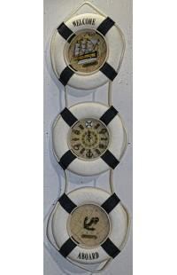 Декоративная композиция из 3 секций с часами и канатом Спасательный круг.