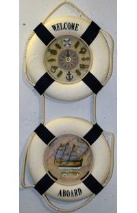 Декоративная композиция из 2 секций с часами и канатом Спасательный круг.