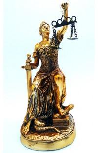Статуэтка декоративная Фемида, присевшая на Землю.