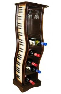 Держатель декоративный для 12 бутылок и фужеров Фортепьяно.