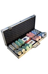 Набор для покера Профессионал 400 с номиналами в алюминиевом кейсе.