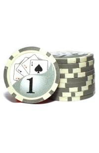Набор фишек для покера номинал 1 двухцветный пластик высокого качества 39мм 115гр 50шт.