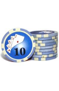 Набор фишек для покера номинал 10 двухцветный пластик высокого качества 39мм 115гр 50шт.