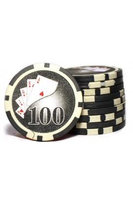 Набор фишек для покера номинал 100 двухцветный пластик высокого качества 39мм 115гр 50шт.