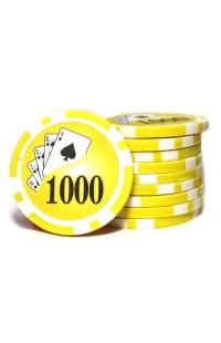 Набор фишек для покера номинал 1000 двухцветный пластик высокого качества 39мм 115гр 50шт.