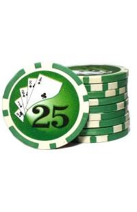 Набор фишек для покера номинал 25 двухцветный пластик высокого качества 39мм 115гр 50шт.