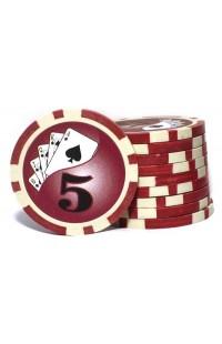 Набор фишек для покера номинал 5 двухцветный пластик высокого качества 39мм 115гр 50шт.