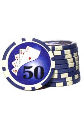 Набор фишек для покера номинал 50 двухцветный пластик высокого качества 39мм 115гр 50шт.