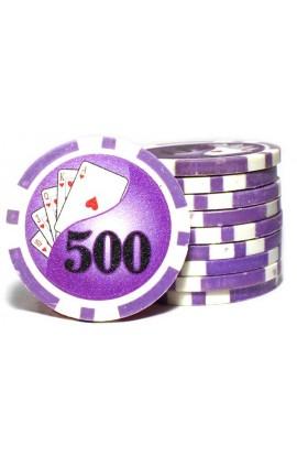 Набор фишек для покера номинал 500 двухцветный пластик высокого качества 39мм 115гр 50шт.