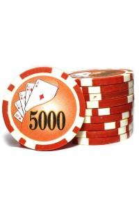 Набор фишек для покера номинал 5000 двухцветный пластик высокого качества 39мм 115гр 50шт.