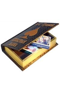 Шкатулка в виде книги Пушкин Пиковая дама с 2 колодами карт.
