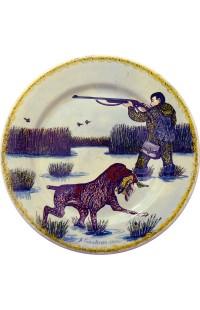 Тарелка настенная керамическая ручной работы автор Галавтин Осенняя охота 26см.