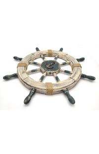 Декоративная композиция Морской штурвал с якорем антик высота 62 см