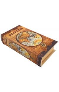 Шкатулка в виде книги для денежных знаков Старая карта мира.