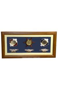Коллаж оригинальный с часами, термометром и гигрометром Морская романтика.