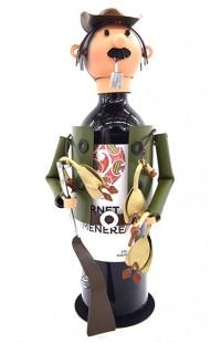Держатель для винной бутылки из металла немецкий дизайн Охотник на уток.