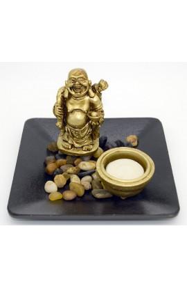 Декоративная композиция с речным камнем и свечой Хотей.