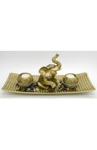 Декоративная композиция с речным камнем и 2 свечами Слон.