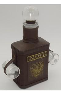 Набор графин в натуральной коже с тиснением c 2 рюмками Герб России.