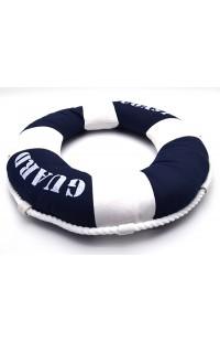 Декоративная подушка Спасательный круг синяя диаметр 40 см