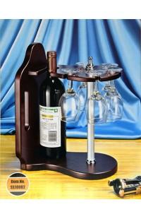 Набор винный настольный держатель для винной бутылки и пяти фужеров.