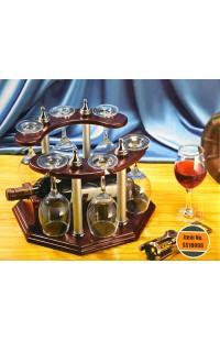Набор винный настольный держатель для винной бутылки и шести фужеров.