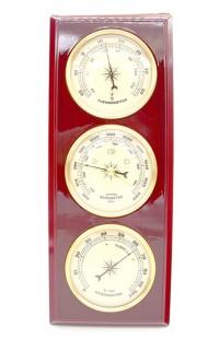 Деревянный барометр с термометром и гигрометром 20см.