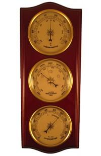 Метеостанция деревянная с барометром термометром и гигрометром.
