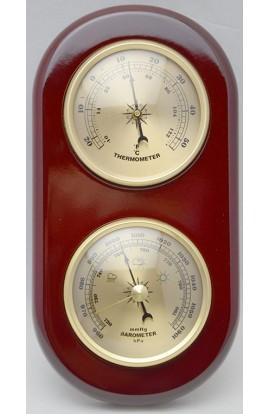 Метеостанция деревянная с барометром и термометром 20см.