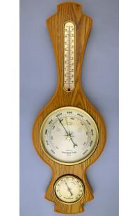 Метеостанция деревянная с барометром гигрометром и жидкостным 48см.