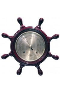 Метеостанция деревянная с барометром термометром и гигрометром Штурвал диаметр 22см.